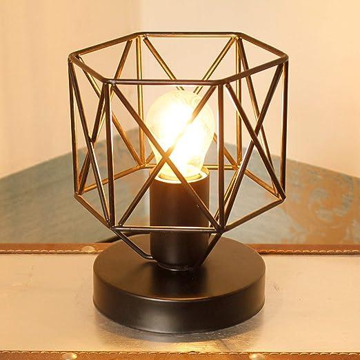 BEANDENG Lámparas de mesa industriales retro Lámpara de metal Base ...
