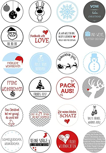 24 Weihnachtsaufkleber Mit Lustigen Sprüchen Rund I Set Weihnachtliche Geschenkaufkleber Zum Verzieren I Für Karten Briefe Geschenke I Dv 055