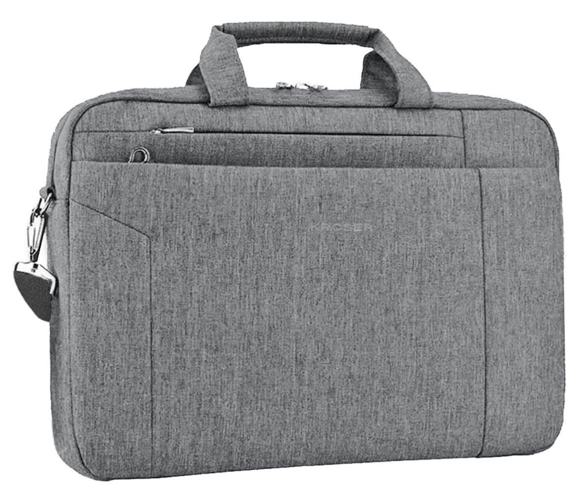 KROSER Laptop Bag 15.6 Inch Briefcase Shoulder Messenger Bag Water Repellent Laptop Bag Satchel Tablet Bussiness Carrying Handbag Laptop Sleeve for Women and Men-Charcoal Black TAM-2801D-BlackGrey
