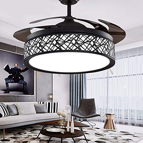 42″ Black Bird-Cage Ceiling Fan Chandelier Retractable Blade Ceiling Fan