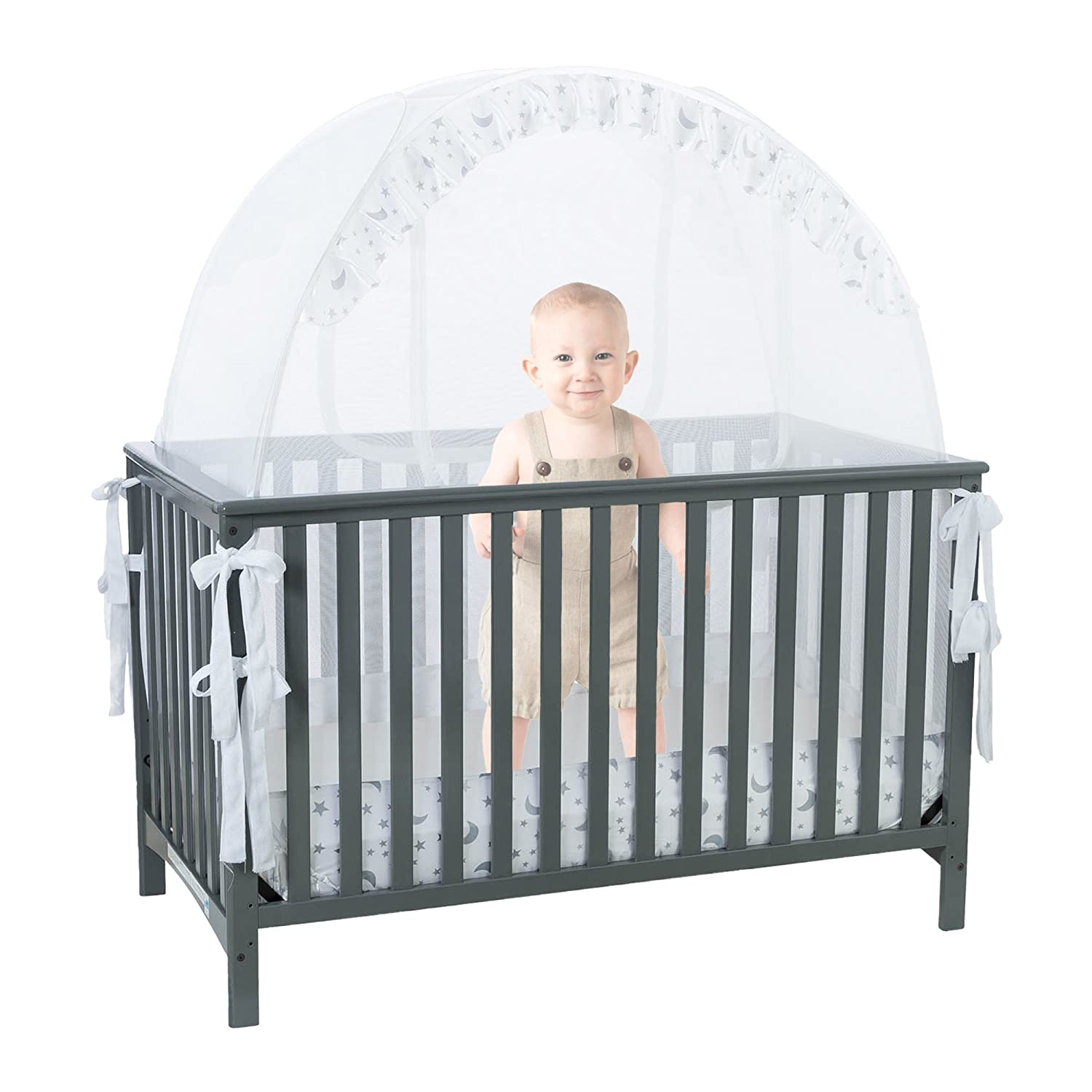 SEE THROUGH MESH TOP - Baby Crib Tent Safety Net Pop Up Canopy Cover 1st baby safety