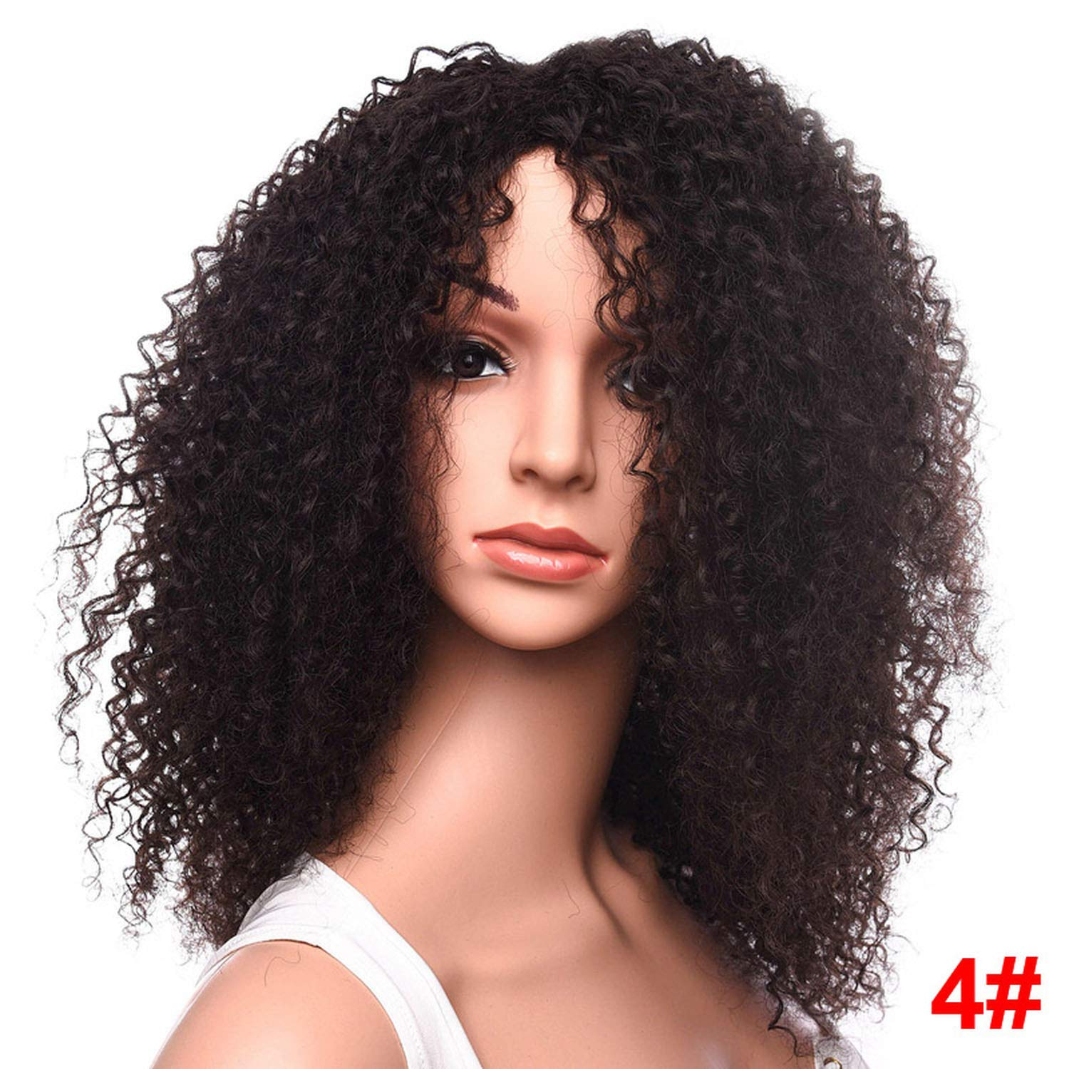 Amazon.com : Long Afro Kinky Curly Wig Medium Brown Synthetic Wigs for Black Women African Hairstyle, #1B, 18inches : Beauty