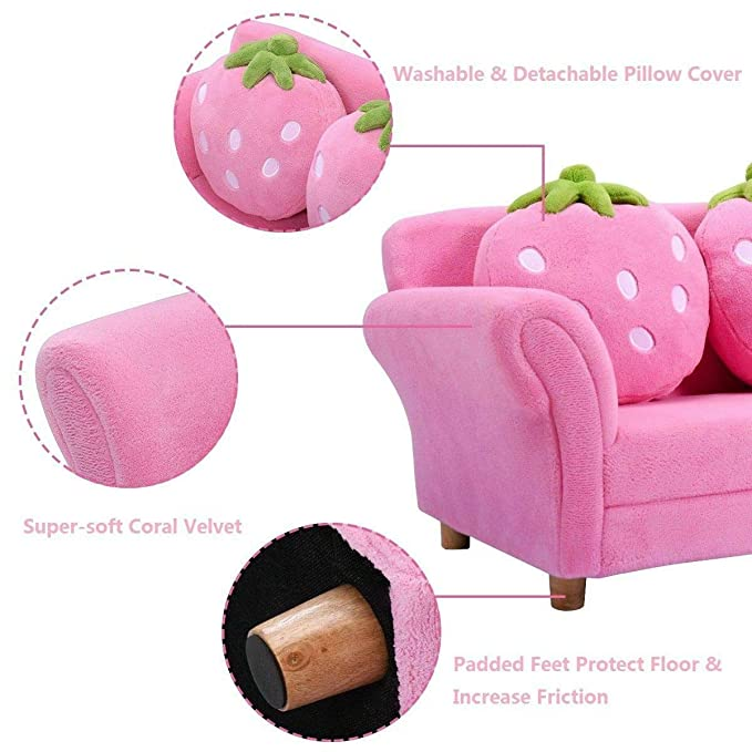 Amazon.com: Kids Sofa Strawberry Armrest Chair Lounge Couch ...