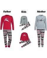 Sinwo Men Women Kids T shirt Blouse Pants Family Christmas Pajamas Set Family Clothes