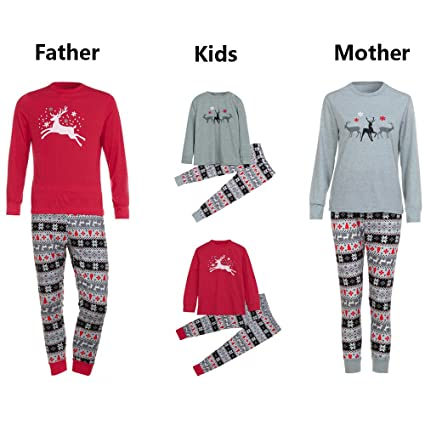 ca5ce76566 Jeeke Family Christmas Pajamas Christmas Elk Tops Blouse Pants for Women  Men Kids Family Sleepwear (