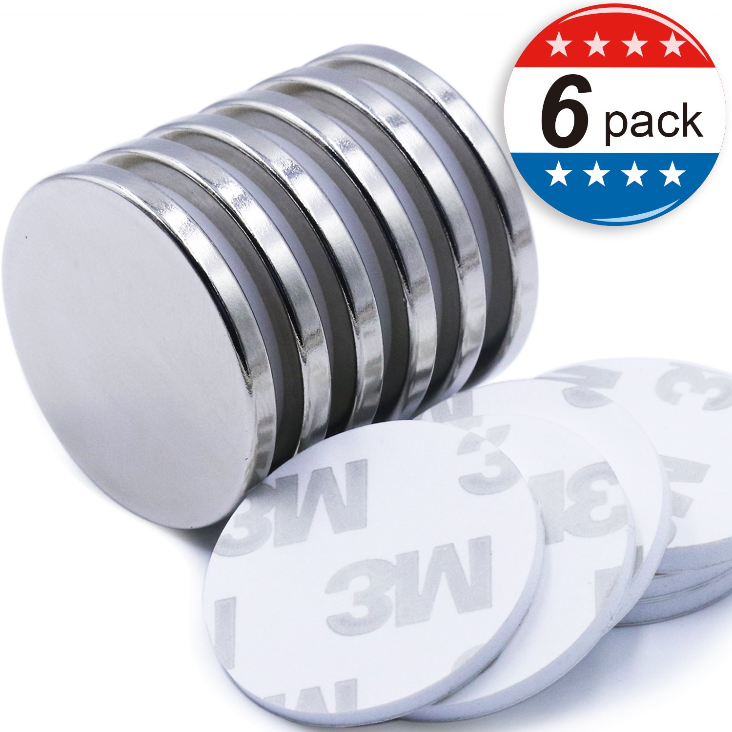 "Super Strong Neodymium Disc Magnets with Double-Sided Adhesive, Powerful Permanent Rare Earth Magnets. Fridge, DIY, Building, Scientific, Craft, and Office Magnets, 1.26""D x 1/8""H - Pack of 6"