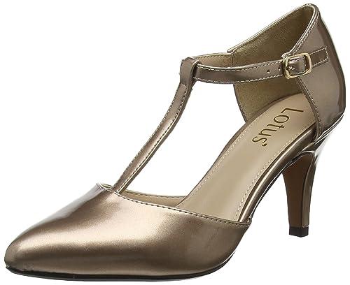 Lotus Camomile Scarpe col Tacco con Cinturino a T Donna Oro Rose Gold