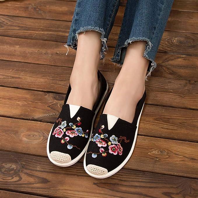 Damas de Las Mujeres Moda Punta Redonda Plana con Mocasines Bordados Zapatos LILICAT ✈✈ 2019 Color sólido de Gran tamaño Zapatos Planos Casuales Zapatos ...