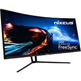 "Nixeus EDG 34"" Ultrawide 3440 x 1440 AMD Radeon FreeSync Certified 144Hz 1500R Curved Gaming Monitor with Tilt Only…"
