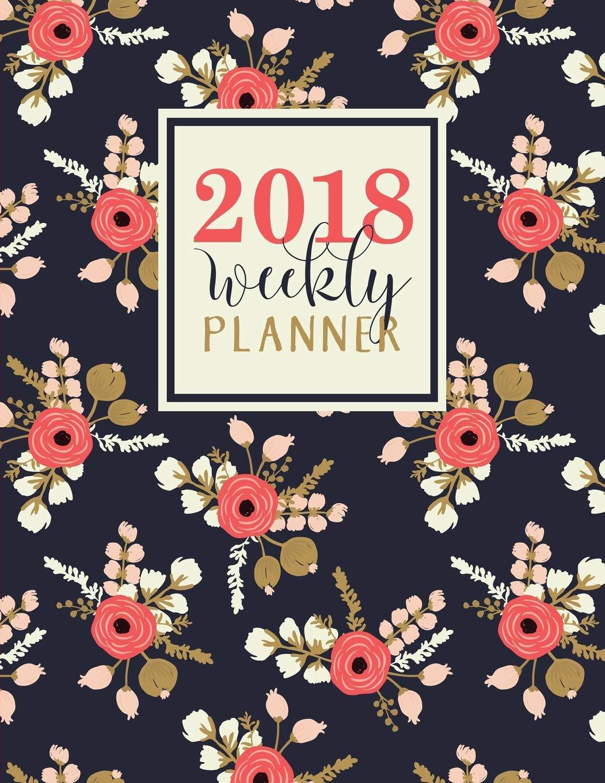 Weekly Planner 2018 Weekly Planner Coral Florals on Navy
