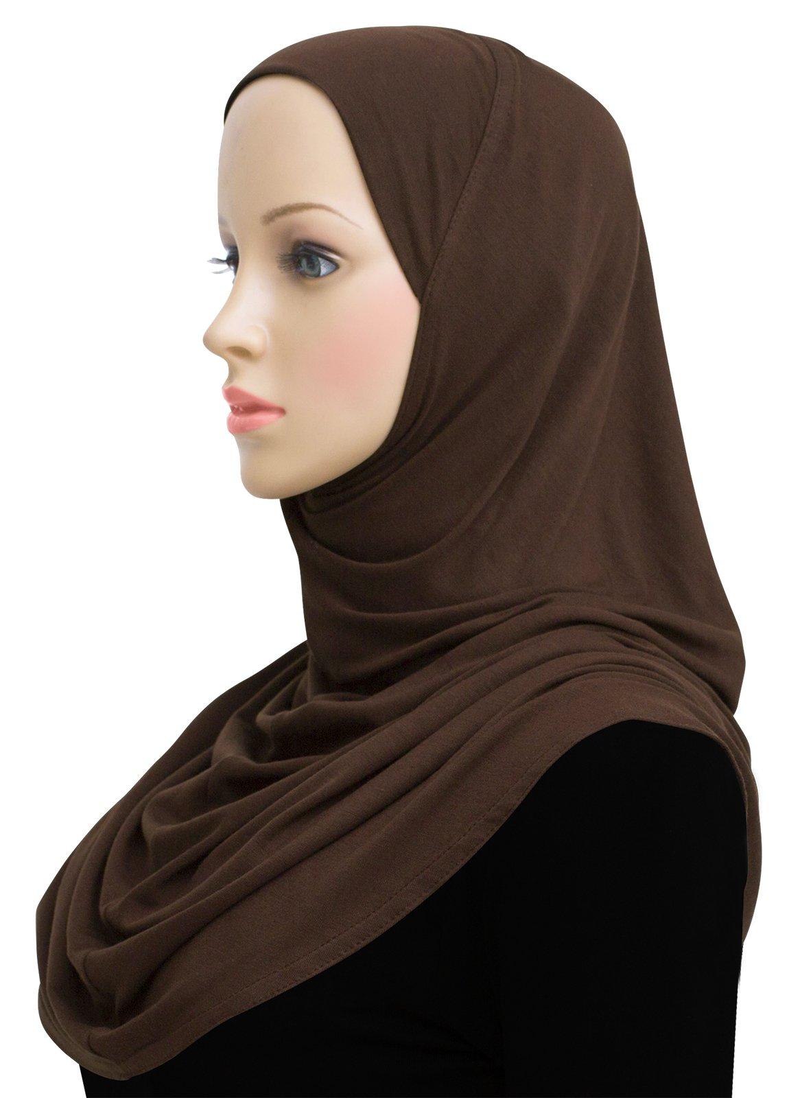 Cotton Hijab 1 piece Khatib Amira Head Scarf (Brown)