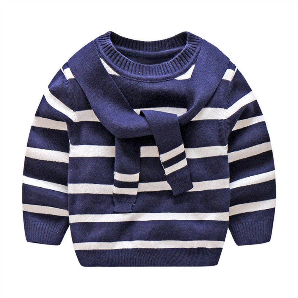SPRMAG Kids Boy Preppy Style Knit Stripe Pullover Casual Sweater Made in China