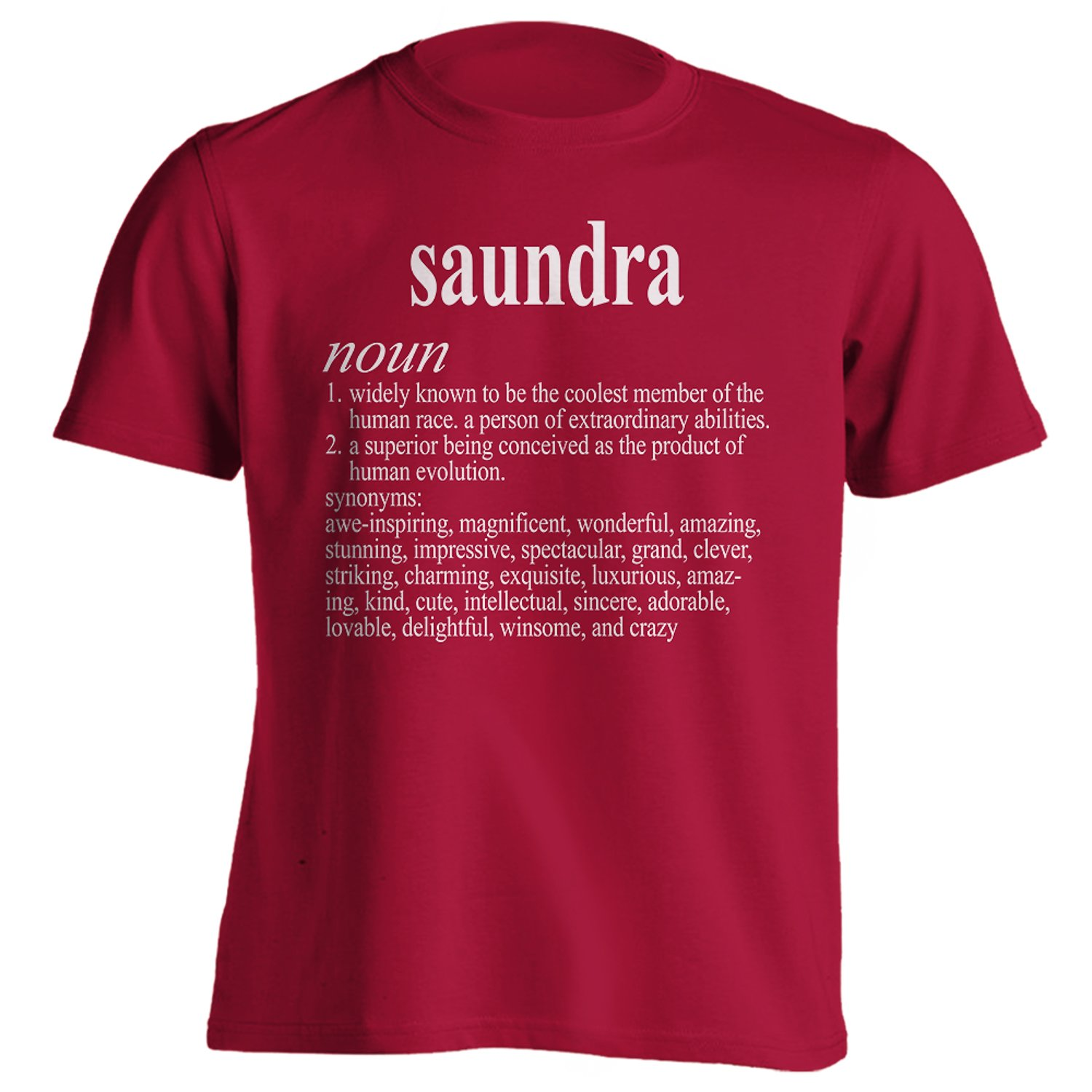 Vintage Style Saundra Funny First Name Definition Adult T-Shirt