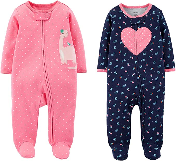 Carters Baby and Toddler Fleece Footed Pajamas Pink /& Blue Heart Pattern