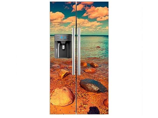 Vinilo Frigorífico Americano Playa Rocosa | 90x180cm | Varias ...