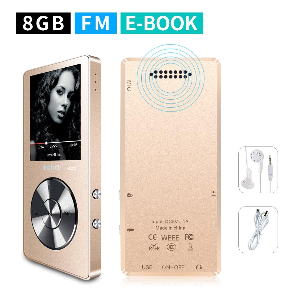 mymahdi 8GB Reproductor de MP3portátil (Ampliable a 128GB), Reproductor de música/Radio FM/grabadora de Voz 70Horas de reproducción con una tecla con Altavoz Externo HD Auriculares, Oro