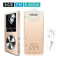 MYMAHDI Tragbarer MP3-Player, 8GB (erweiterbar auf bis zu 128GB), Musik-Player / Stimmenaufzeichnung per Knopfdruck / FM-Radio / 70Stunden Wiedergabe über externe Lautsprecher / HD-Kopfhörer / Gold