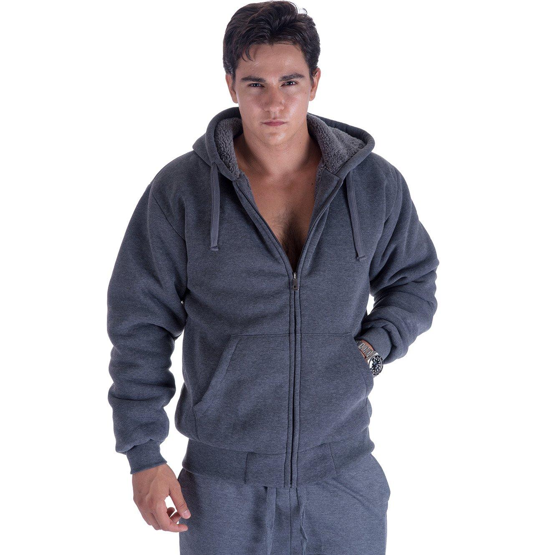 Heavyweight 1.8 lb Full-Zip Sherpa Lined Fleece Hoodies for Men Plus Sizes S - 5XL Men's Solid Jackets Dark Grey Large