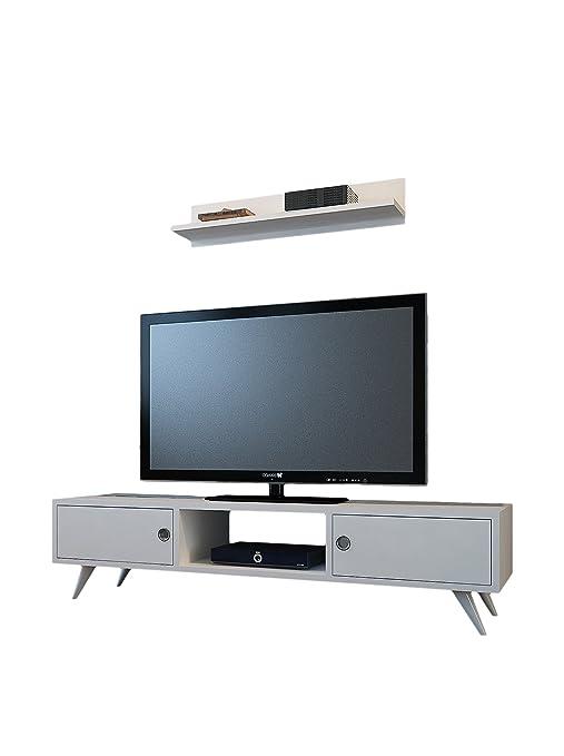 Minar Aspen Meuble TV Blanc: Amazon.fr: Cuisine & Maison