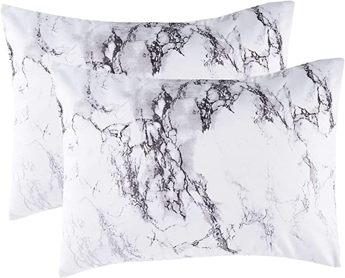Wake In Cloud - Pack of 2 Pillow Cases, Black White and Gray Grey Marble Modern Pattern Printed Soft Microfiber Pillowcases (2pcs, Standard Size, 20x26 Inches)