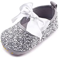 Baby Girls Mary Jane Flats Sparkly Bow Diamonds Princess Dress Shoes Anti-Slip Infant Crib Shoes (6-12 Months Toddler…
