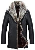 Mens Sheepskin Leather Jacket Fashion Raccoon Fur Collar Wool Lining Long Coat