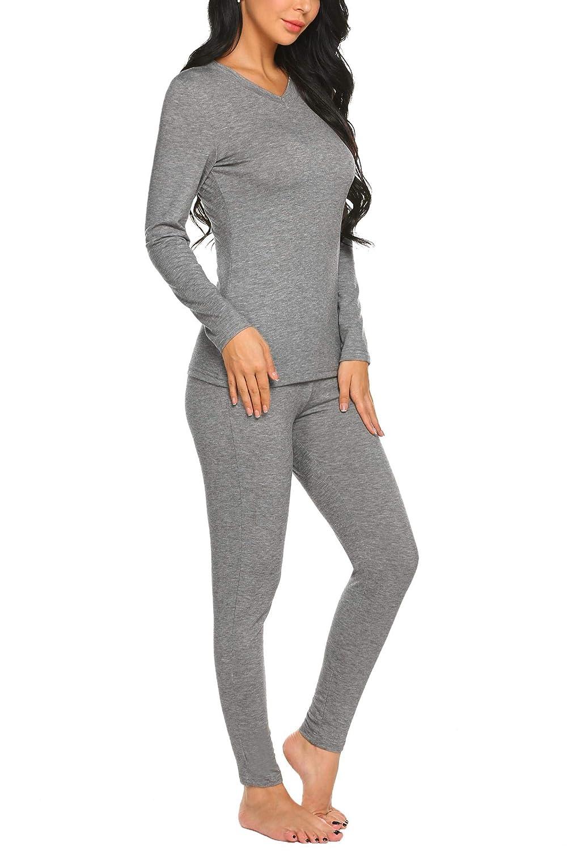 Ekouaer Womens Soft Thermal Underwear Set Winter Base Layering Top /& Bottom