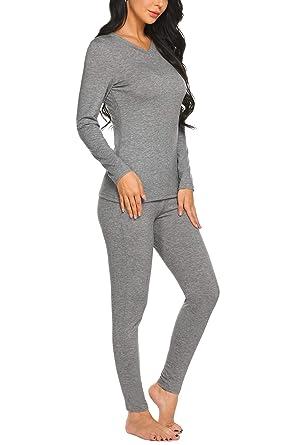 Ekouaer Thermal Sets V Neck Pajamas Sleepwear Top with Pants Long Sleeve Pj  Set c500ec859