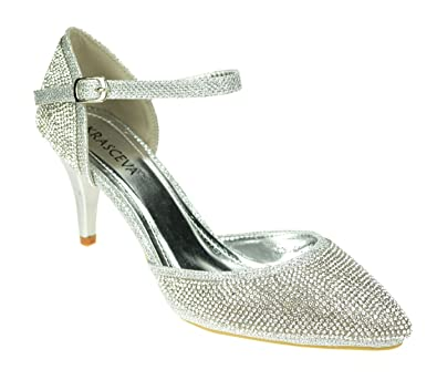 bc44f669977 Chic Feet Silver Glitter Womens Party Dance Diamante Evening Wedding Bridal  Prom Mary Jane Mid Heel Shoes  Amazon.co.uk  Shoes   Bags