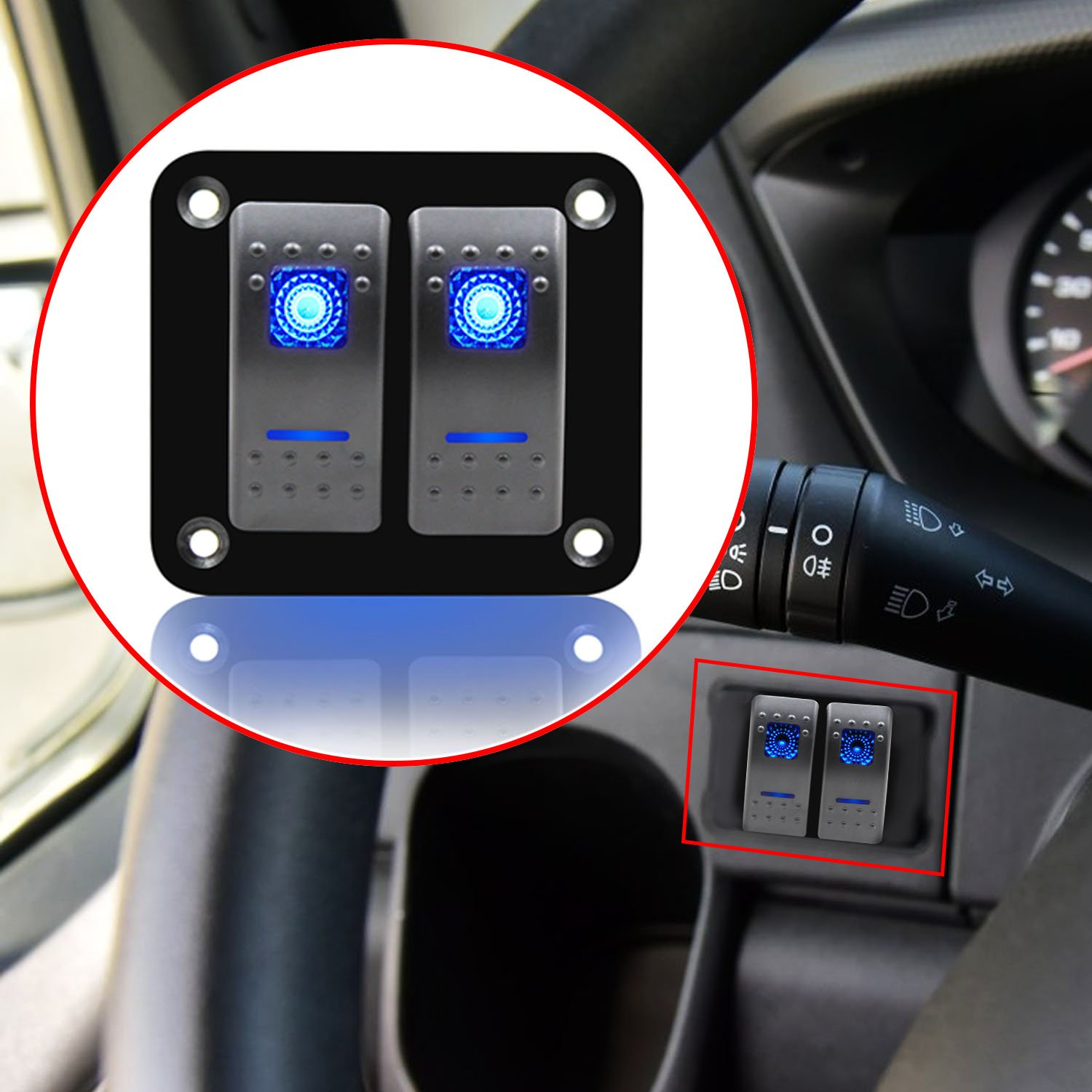 FXC Rocker Switch Aluminum Panel 2 Gang Toggle Switches Dash 5 Pin ON//Off 2 LED Backlit for Boat Car Marine Blue