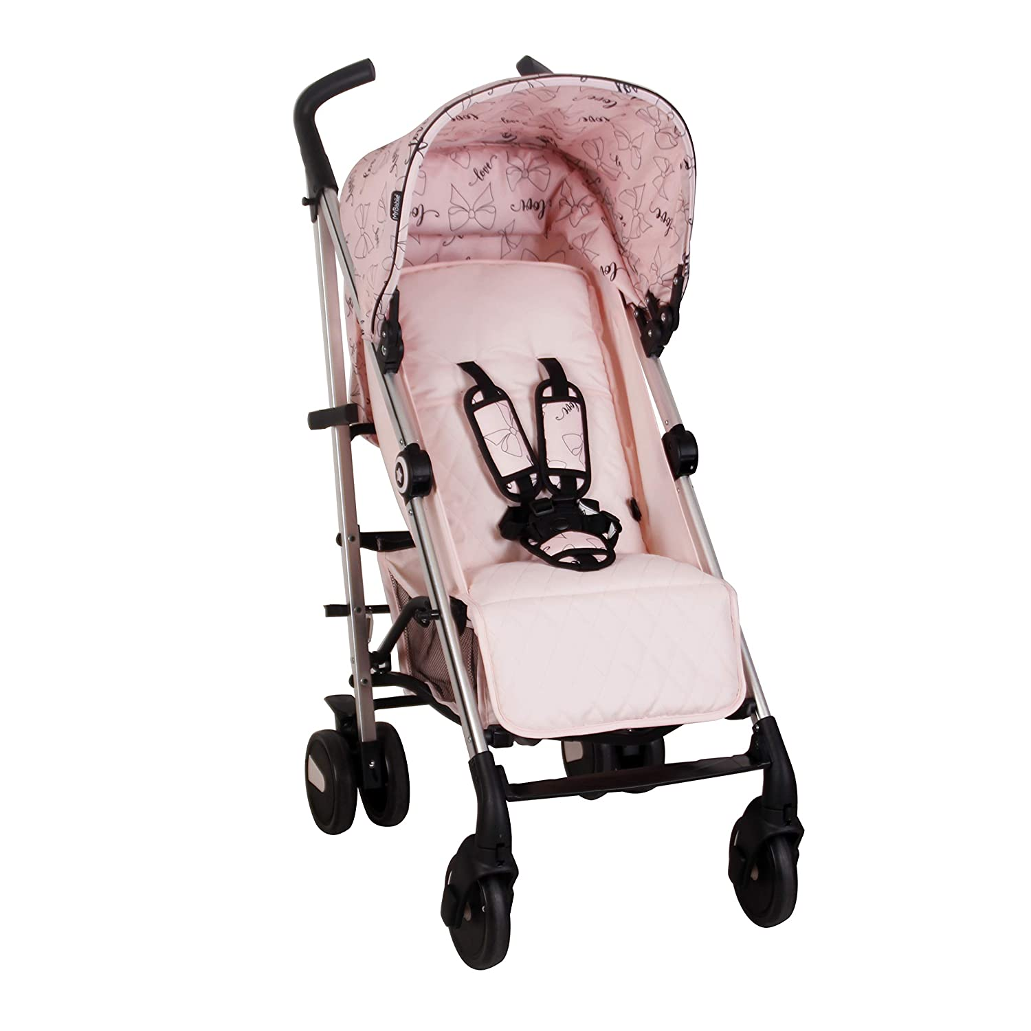 My Babiie US51 Catwalk Pink Bows Baby Stroller Lightweight Baby Stroller with Carry Handle Silver Frame and Pink Canopy with Bows Lightweight Travel Stroller Suitable from Birth 33lbs