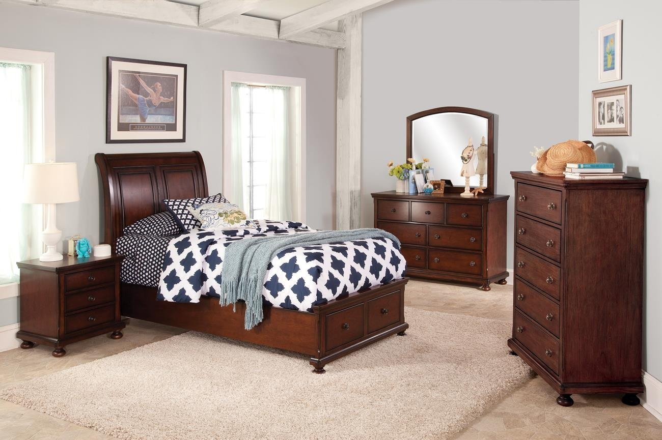 Jensen Youth 5 Piece Twin Storage Bedroom Set with 2 Nightstands in Cherry Brown