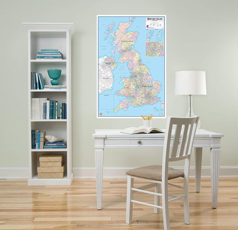 Mappa del Regno Unito con Isole scrivibile e scancellabile Wallpops