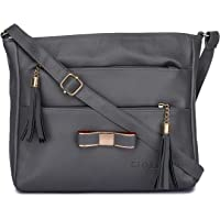 GLOSSY Urban Fad Girl's PU Sling Bag with 5 Zip Compartments (Grey)