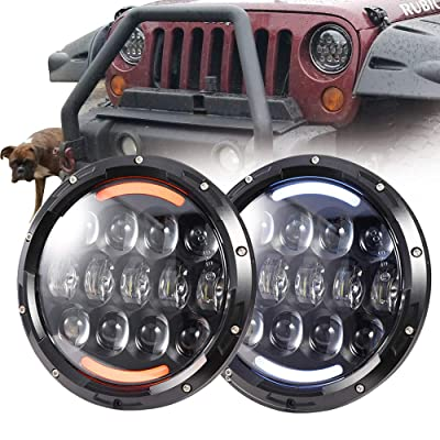 "COWONE 7""inch 105W Cree LED Headlights with White DRL/Amber Turn Signal for 1997-2020 Jeep Wrangler JK LJ CJ TJ Hummer H1 H2 Headlamps: Automotive"