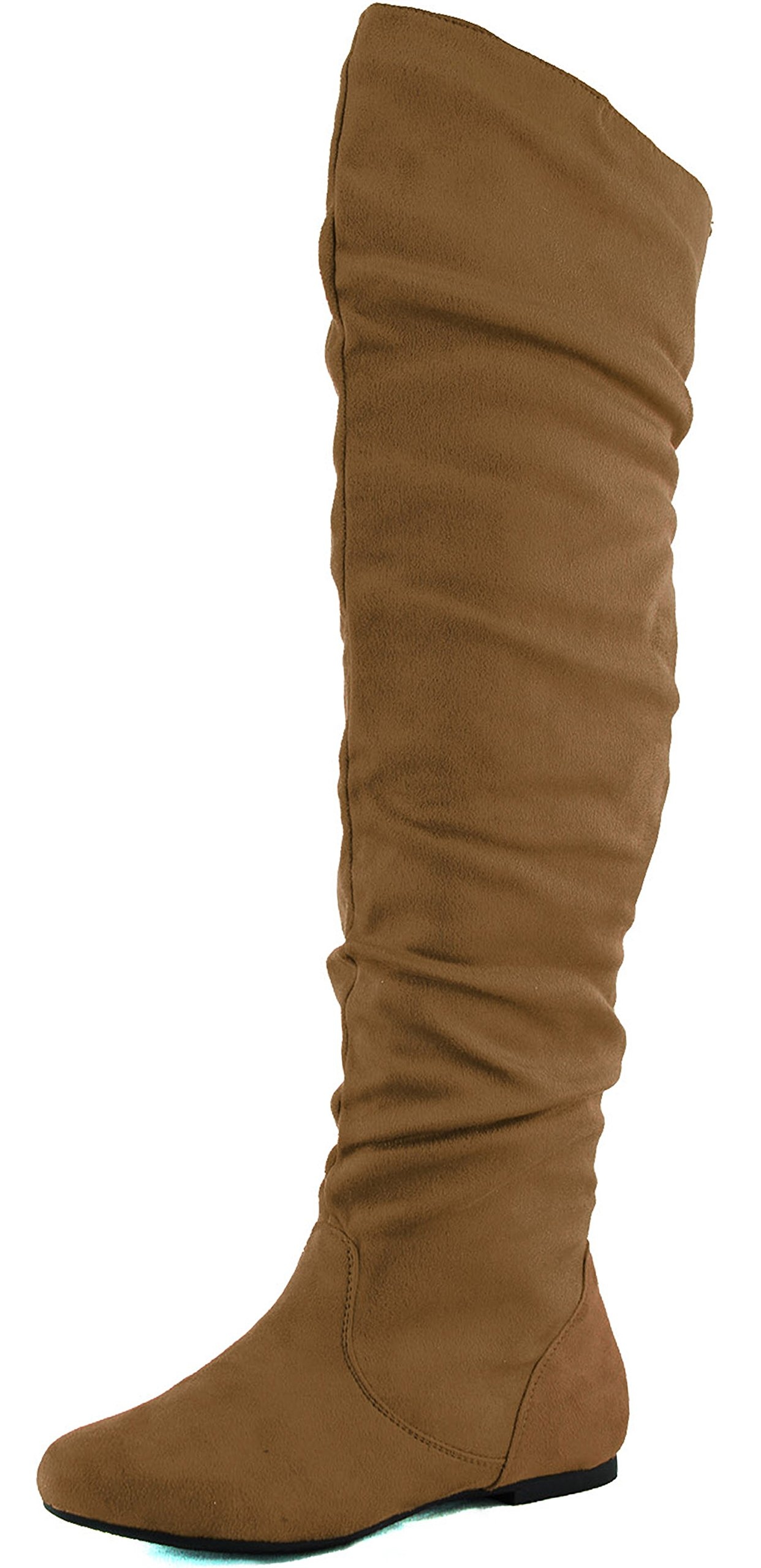 DailyShoes Women's Fashion-Hi Over the Knee Thigh High Boots, Camel Sv, 5.5 B(M)