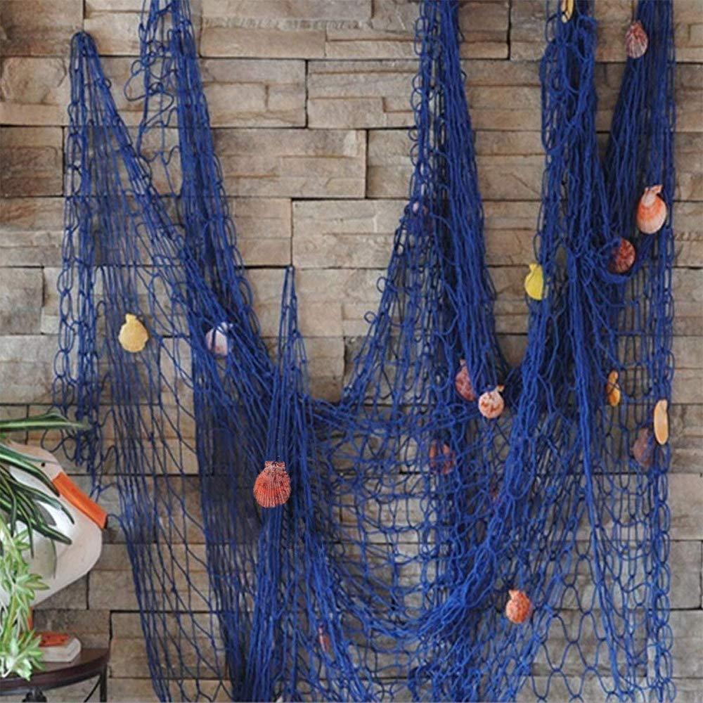 VEIOU Fish Net Decor Nautical Mediterranean Style Home Wall Decorative With Shells (Blue) by VEIOU