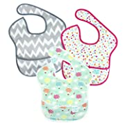 Bumkins SuperBib, Baby Bib, Waterproof, Washable, Stain and Odor Resistant, 6-24 Months, 3-Pack - Gray Chevron, Confetti, Balloons