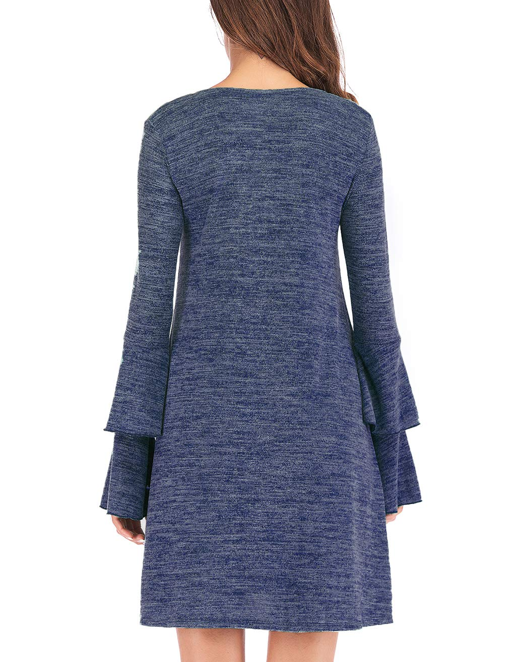 Eanklosco Women's Sweater Dress Flare Long Sleeve Knit Jumper Tops Criss Cross V Neck Loose Swing Tunic Dress (Blue, M)
