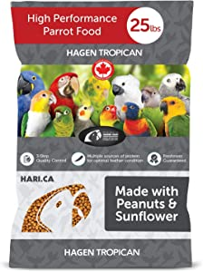 Hari Tropican Bird Food, Hagen Parrot Food with Peanuts & Sunflower Seeds, Parrot Granules for Small Parrots, High Performance 2 mm, 25 lb Bag