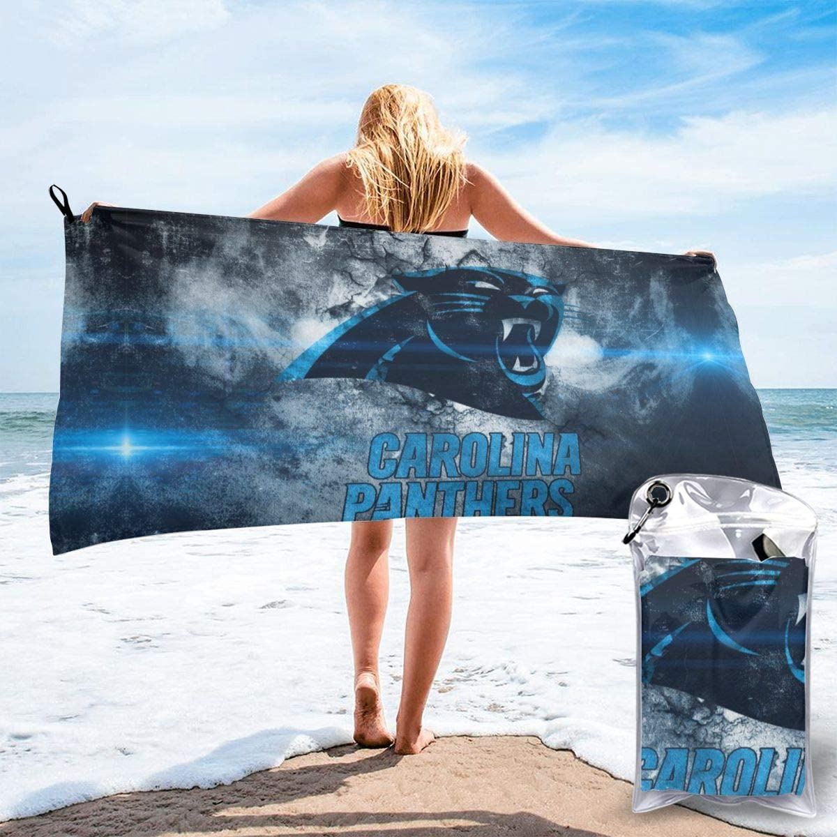 Amazon Com Gvv Quick Dry Bath Towels Carolina Panthers Wallpaper Light Skin Friendly Highly Absorbent Travel Towel For Sports Beach Towel Home Kitchen
