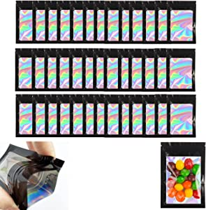 100pcs Smell Proof Mylar Bags Resealable Holographic Packaging Ziplock Bag with Clear Window Storage Bags for Candy, Sample Lip Gloss Eyelash, Jewelry Electronics Storage (Black, 2.4 x 3.9Inch)