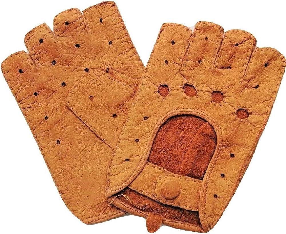 Exklusive fingerlose Auto-Handschuhe aus 100/% echtem Peccary Leder Autofahrerhandschuhe handgen/äht Herren und Damen