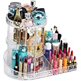 Makeup Organiser, Premium 360 Degree Rotating Crystal Acrylic Adjustable Jewellery Cosmetic Perfume Display Storage Case, Perfect For Dressing Table, Bathroom and Bedroom (Clear)