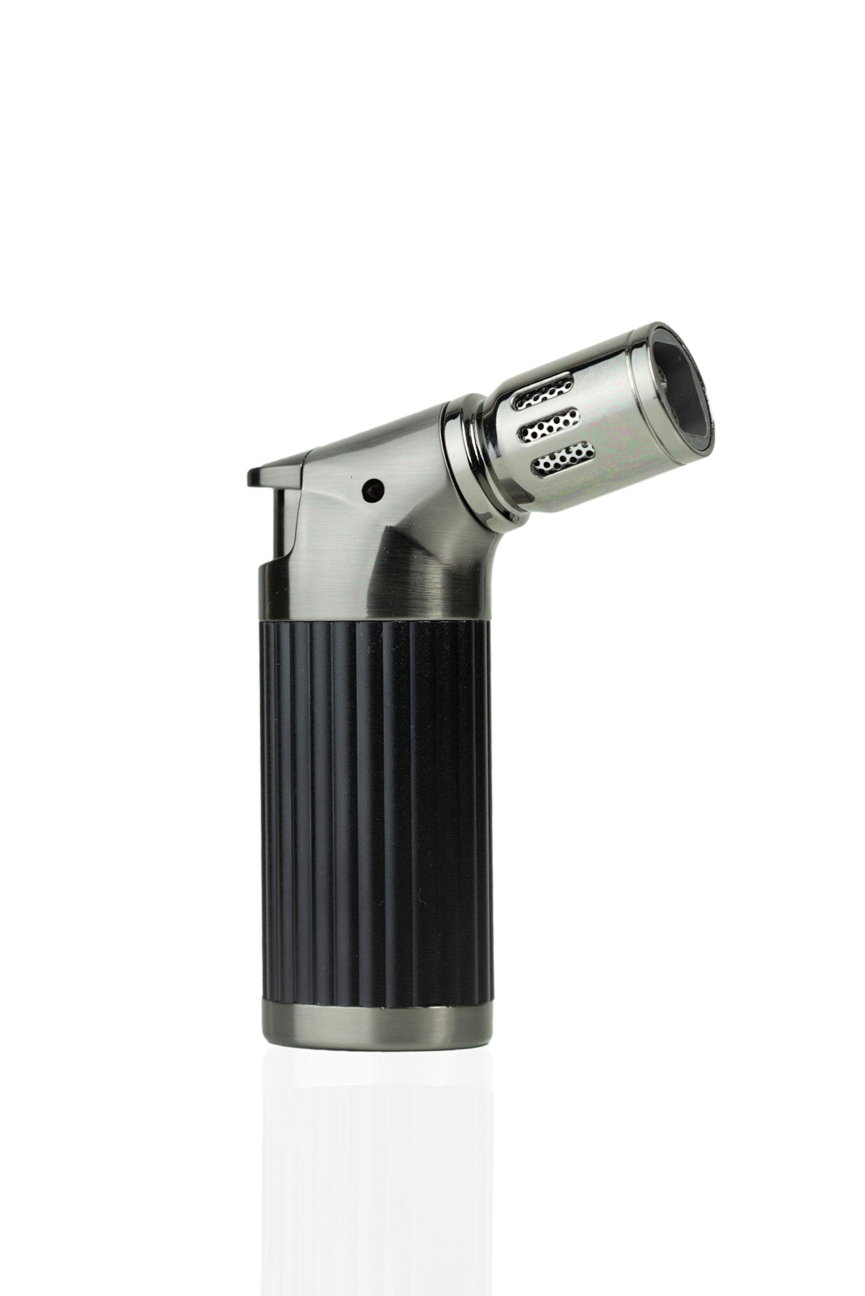 Torch Lighter for Bripe Coffee, Cigars, Cooking- Quad Jet Refillable (Black)