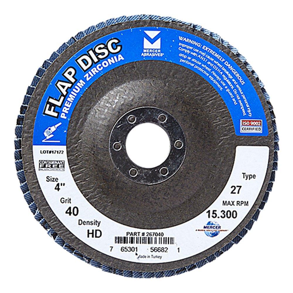 Mercer Industries 267040 Zirconia Flap Disc, High