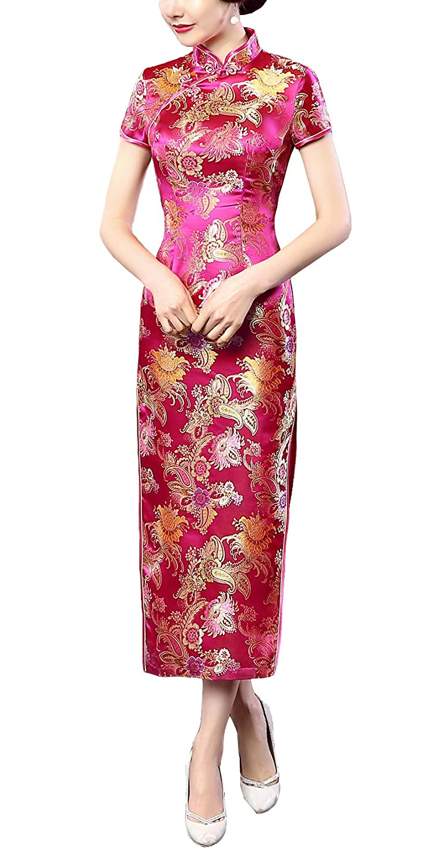 ACVIP Women's Chinese Brocade Phoenix Short Sleeves Wedding Long Dress