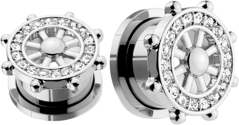 Steel Flare Wheel Crystal Zirconia Bead Ear Flesh Tunnel Stretcher Expander Plug