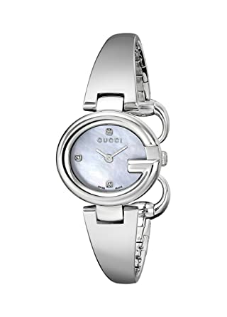 6cf27685ce6 Amazon.com  Gucci Guccissima Stainless Steel Diamond-Accented Bangle Women s  Watch(Model YA134504)  Watches