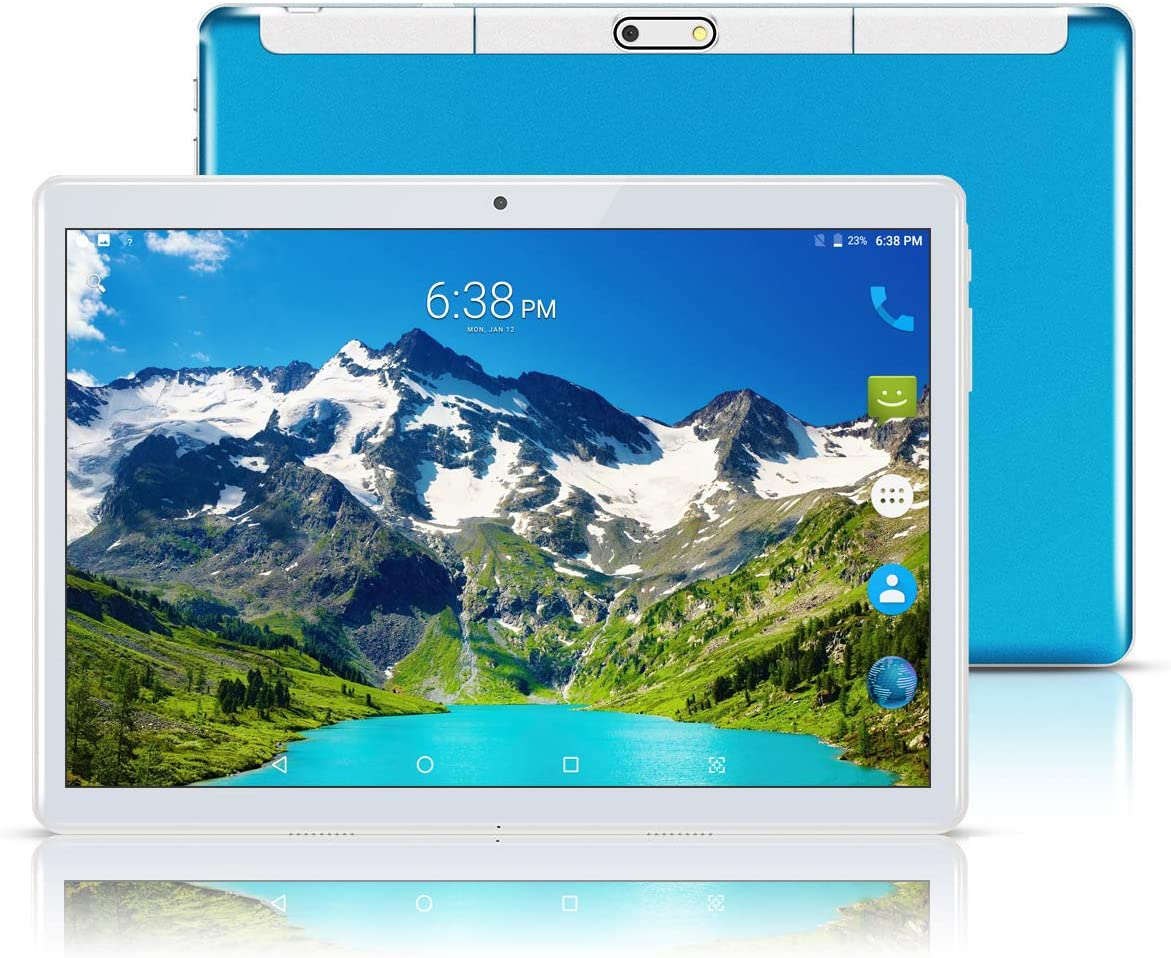 """Android 8.1 Tablet 10 Inch (10.1""""),Octa Core,3G Dual SIM Phablet Tablets PC,Dual Camera,4GB Ram+64GB Disk,Wifi,GPS,OTG (Blue)"""